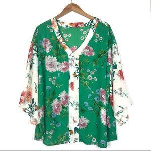 Boho Floral Patchwork Tunic Top Plus Size 2XL